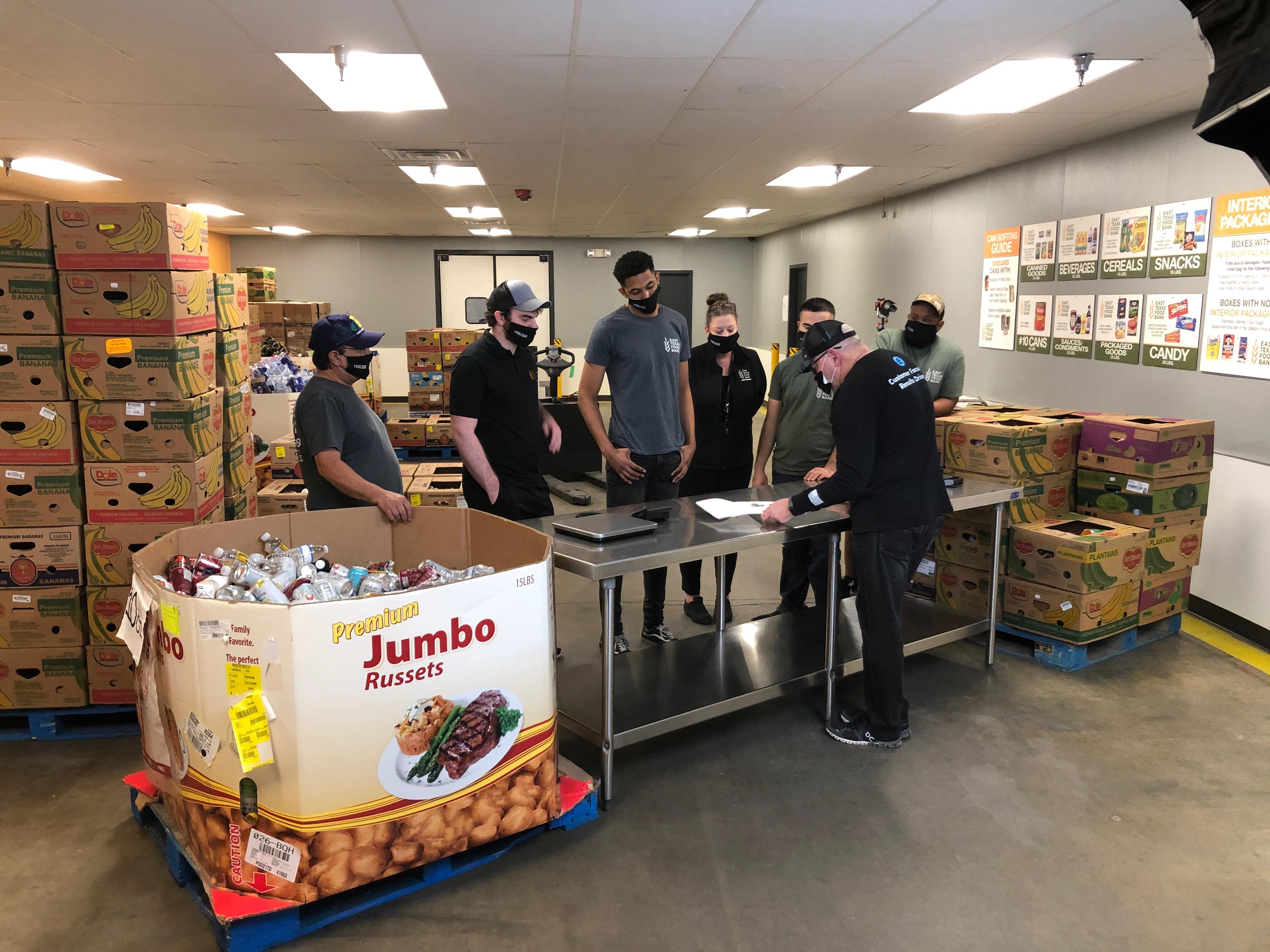Encore shooting footage at East Texas Food Bank