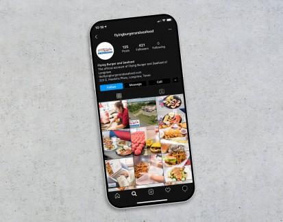 Flying Burger Instagram Grid - Moblie Phone View